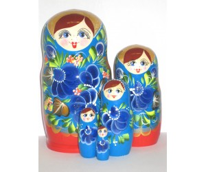 1000 - Red and Blue Floral Matryoshka Russian Nesting Dolls