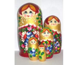1001 - Matriochka Poupées Russes Motif Floral Rouge et Doré