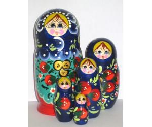 1002 - Matriochka Poupées Russes Motif Floral Rouge et Bleu