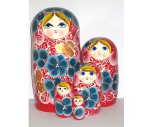1003 - Matriochka Poupées Russes Motif Floral Rouge et Bleu