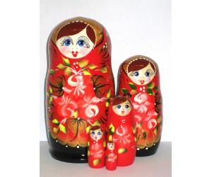 1004 - Matriochka Poupées Russes Motif Floral Rouge et Noir