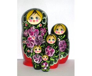 1006 - Matriochka Poupées Russes Motif Floral Rouge et Vert