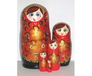 1007 - Matriochka Poupées Russes Motif Floral Rouge et Noir