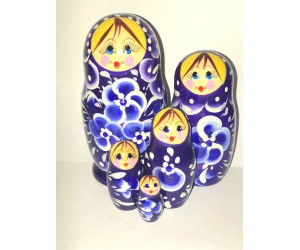 1015 - Matriochka Poupées Russes Motif Floral Bleu