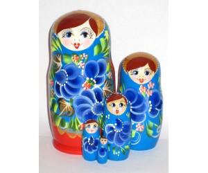 1020 - Matriochka Poupées Russes Motif Floral Bleu et Rouge