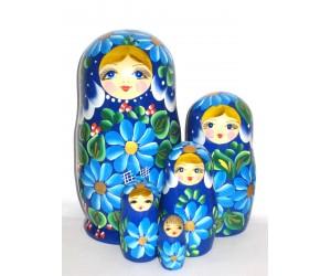 1021 -  Blue Floral Matryoshka Russian Nesting Dolls