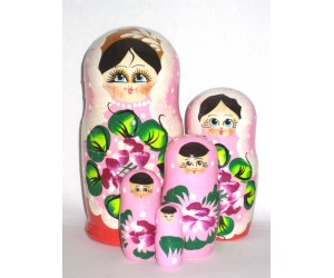 1024 -  Pink and Red Floral Matryoshka Russian Nesting Dolls