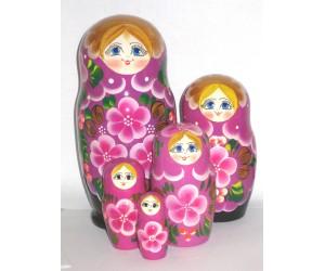 1027 -  Purple Floral Matryoshka Russian Nesting Dolls