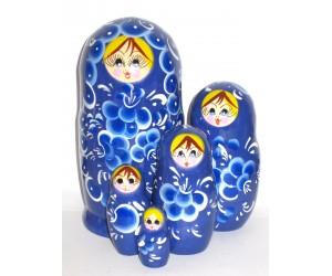 1028 - Matriochka Poupées Russes Motif Floral Bleu