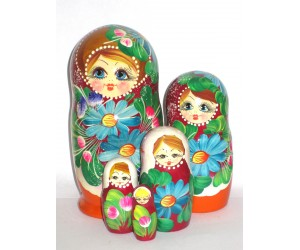 1032 -  Red and Burgundy Floral Matryoshka Russian Nesting Dolls