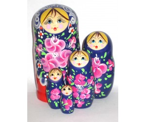 1033 - Red and Blue Floral  Matryoshka Russian Nesting Doll