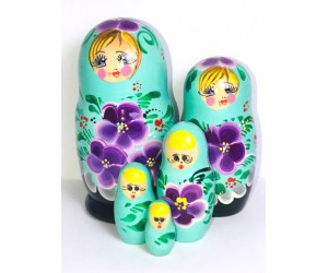 1037 -  Turquoise and Purple Floral Matryoshka Russian Nesting Dolls