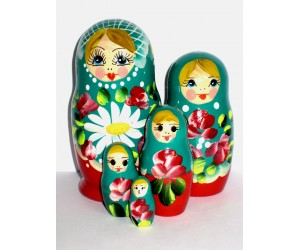 1039 -  Turquoise and Red Floral Matryoshka Russian Nesting Dolls