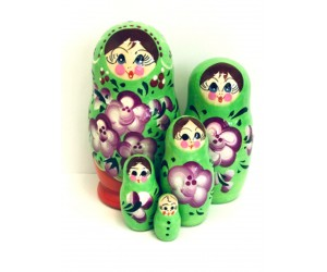 1040 -  Green and Purple Floral Matryoshka Russian Nesting Dolls