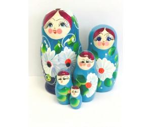 1041 - Matriochka Poupées Russes Motif Floral Bleu et Blanc