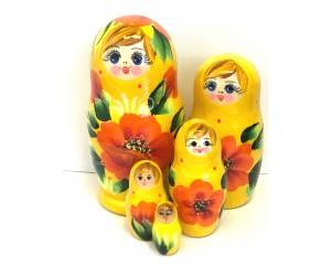 1055 - Matriochka Poupées Russes Motif Floral Jaune et Orange