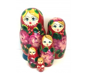 1056 - Blue and Red Floral Matryoshka Russian Nesting Dolls