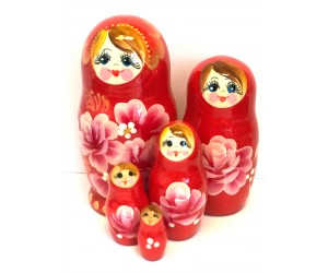 1057 - Red Floral Matryoshka Russian Nesting Dolls