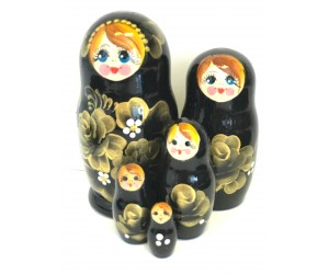 1060 - Gold and Black Floral Matryoshka Russian Nesting Dolls