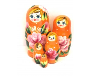 1062 - Matriochka Poupées Russes Motif Floral Orange et Rose