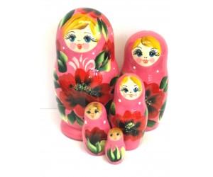 1065 - Pink Floral Matryoshka Russian Nesting Dolls