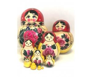1078 - Matriochka Poupées Russes Motif Floral Rouge et Jaune