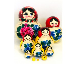 1085 -  Yellow and Red Floral Matryoshka Russian Nesting Dolls