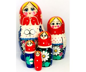 1089 -  Blue, White and Red Floral Matryoshka Russian Nesting Dolls