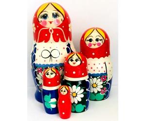 1089 - Matriochka Poupées Russes Motif Floral Bleu, Blanc et Rouge