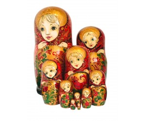 1093 - Matryoshka Russian Nesting Dolls Birds of Fire
