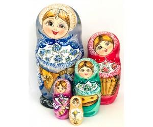 1094 -  Musical Instruments Matryoshka Russian Nesting Dolls