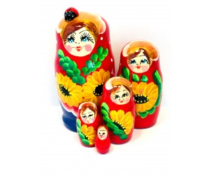 1105 - Blue and Red Floral Matryoshka Russian Nesting Dolls