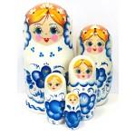 1114 - Matriochka Poupées Russes Motif Floral Blanc et Bleu