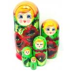 1117 - Matriochka Poupées Russes Motif Floral Rouge et Vert