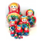 1124 - Red and Burgundy Floral Matryoshka Russian Nesting Dolls