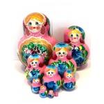 1126 - Pink and Purple Floral Matryoshka Russian Nesting Dolls