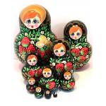 1127 - Red and Black with Strawberries Matryoshka Russian Nesting Dolls