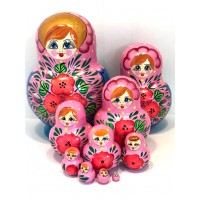 1128 - Pink and Blue Floral Matryoshka Russian Nesting Dolls
