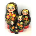 1129 - Red and Black Floral Matryoshka Russian Nesting Dolls