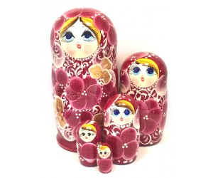 1135 - Burgundy Floral Matryoshka Russian Nesting Dolls