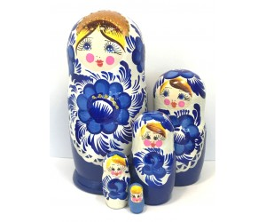 1136 - White and Blue Floral Matryoshka Russian Nesting Dolls