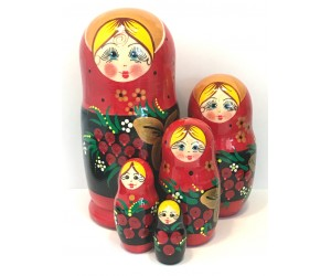 1138 - Black and Red Floral Matryoshka Russian Nesting Doll