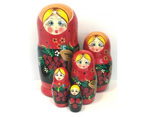 1138 - Matriochka Poupées Russes Motif Floral Rouge et Noir