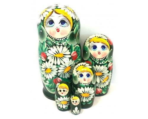 1144 - Matriochka Poupées Russes Motif Floral Vert