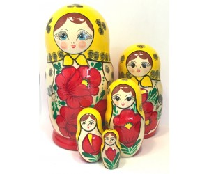 1146 - Yellow and Red Floral Matryoshka Russian Nesting Doll