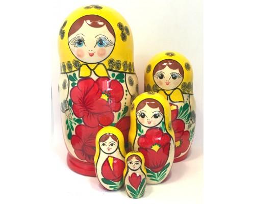 1146 - Matriochka Poupées Russes Motif Floral Rouge et Jaune