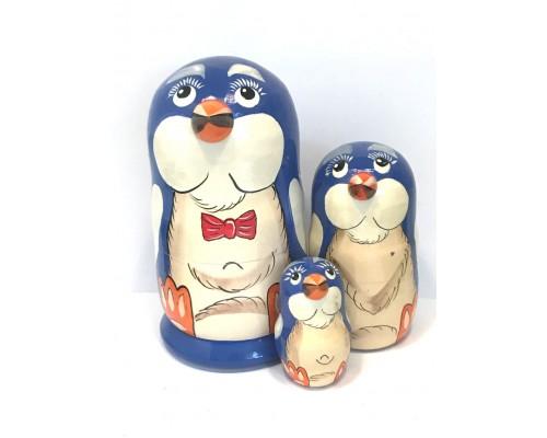 1147 - Matriochka Poupées Russes Pingouins Bleu