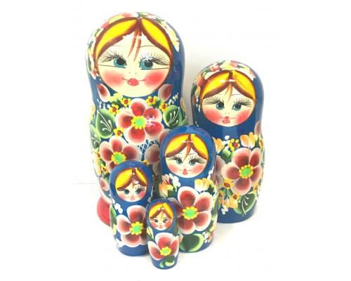 1148 - Matriochka Poupées Russes Motif Floral Rouge et Bleu
