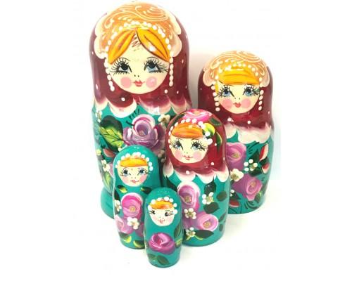 1152 - Matriochka Poupées Russes Motif Floral Turquoise et Rouge