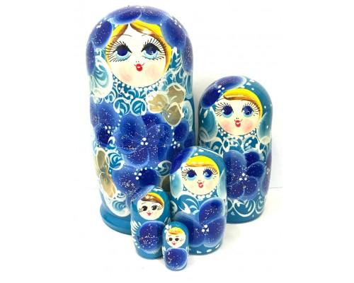 1153 - Matriochka Poupées Russes Motif Floral Bleu